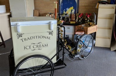 Ice cream bike hire at white hills cricket club